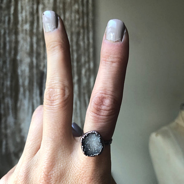 Druzy Star Cluster Ring #3 (Size 7-7.25) - Ready to Ship