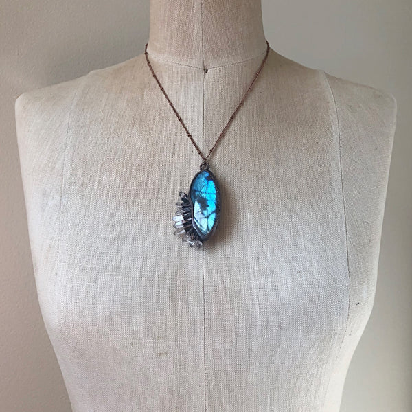 Labradorite Necklace with Clear Quartz Points #2- Ready to Ship