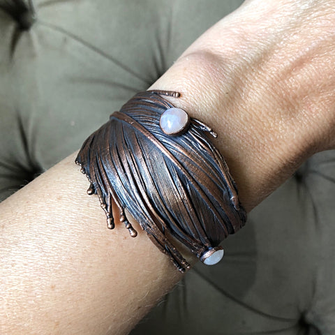 Electroformed Feather Wide Cuff Bracelet with Rainbow Moonstone