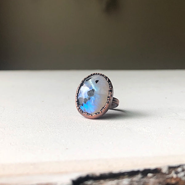 Rainbow Moonstone Ring - Oval #2 (Size 6.25) - Ready to Ship