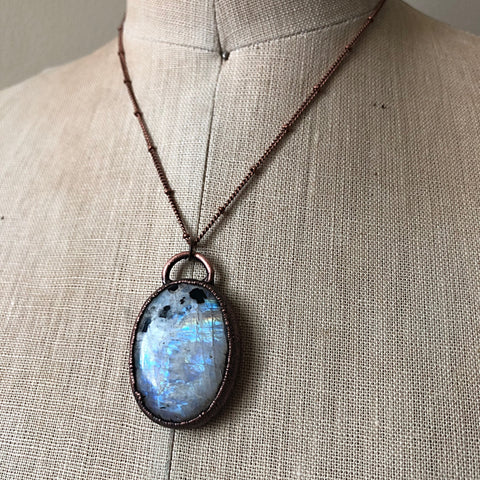 Rainbow Moonstone Necklace Oval - Ready to Ship
