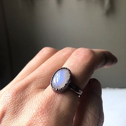 Rainbow Moonstone Ring - Oval #4 (Size 7.25) - Ready to Ship