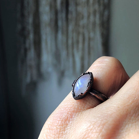 Rainbow Moonstone Ring - Marquise #3 (Size 5-5.25) - Ready to Ship