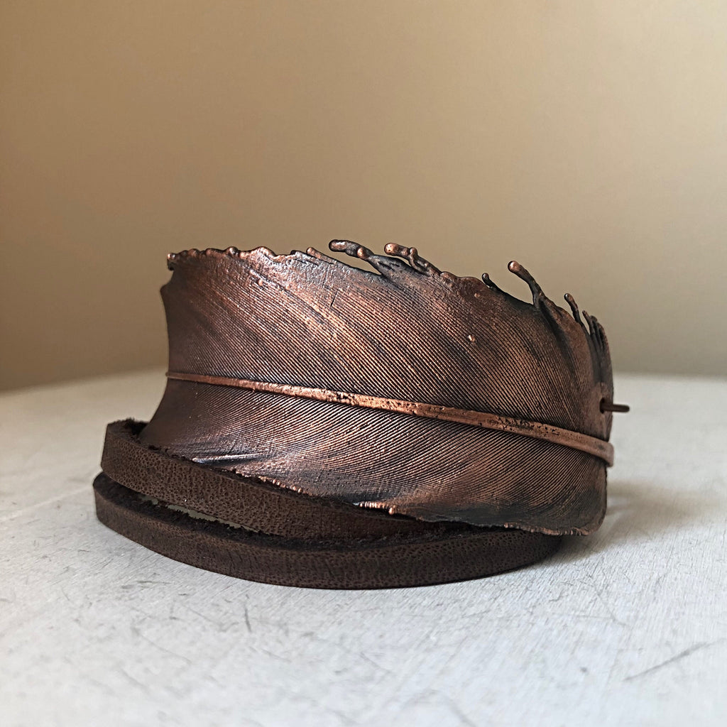 Electroformed Feather and Leather Wrap Bracelet #1 - Ready to Ship
