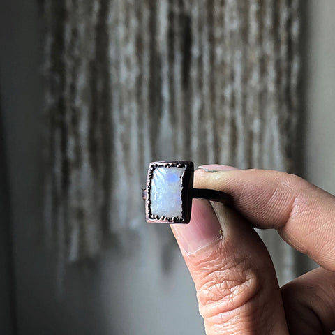 Rainbow Moonstone Ring - Rectangular #5 (Size 9-9.25) - Ready to Ship