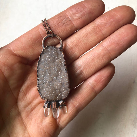 Druzy & Three Raw Clear Quartz Point Necklace - Ready to Ship