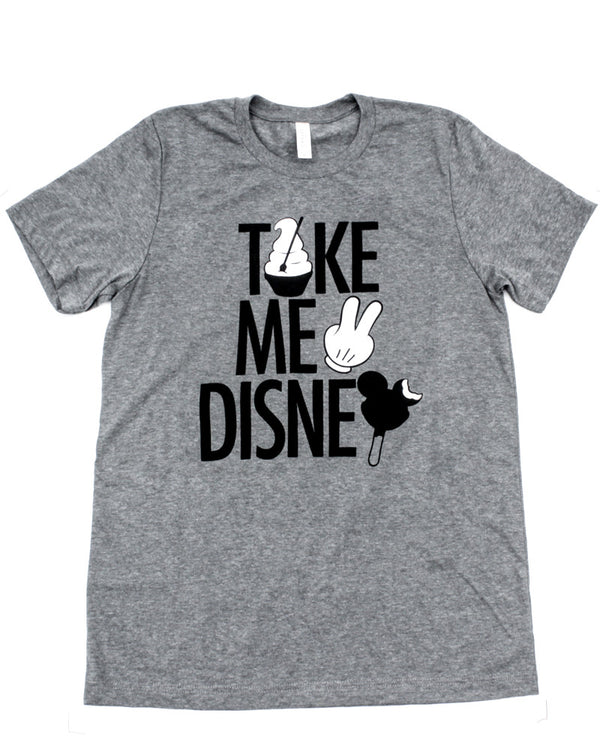 Take Me 2, Crew Neck Tee, Heather Grey