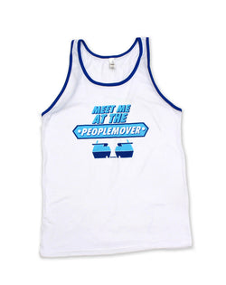 People Mover, Ringer Unisex Tank, White/Blue
