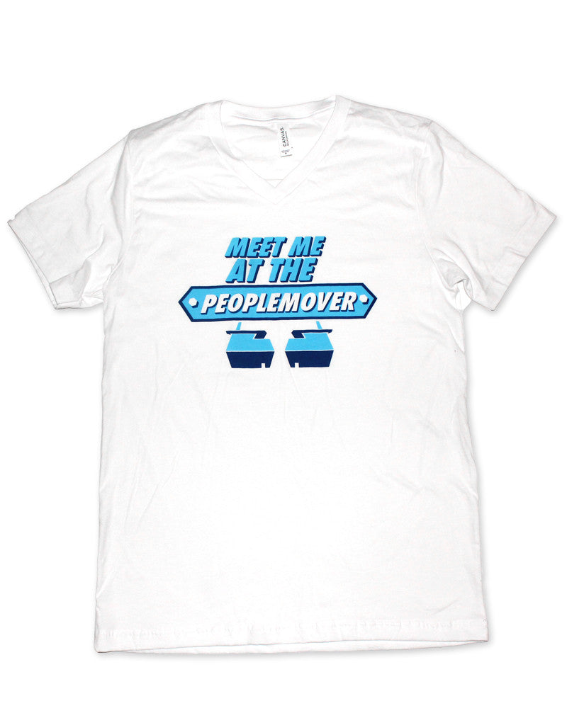 People Mover, Unisex V Neck Tee, White