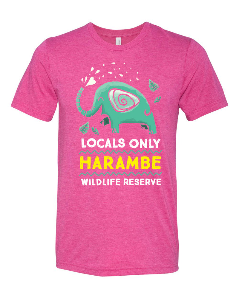 Harambe Locals Only, Crew Neck Tee, Berry
