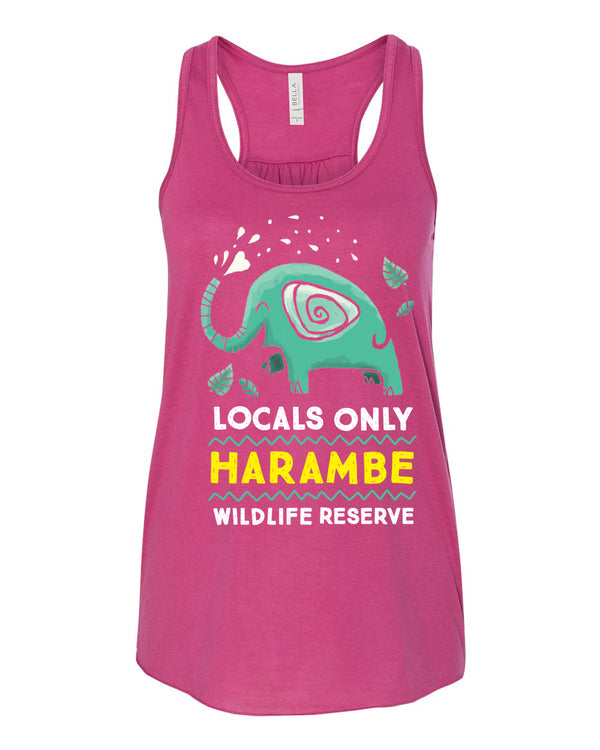 Harambe Locals Only, Flowy Racerback Tank, Berry