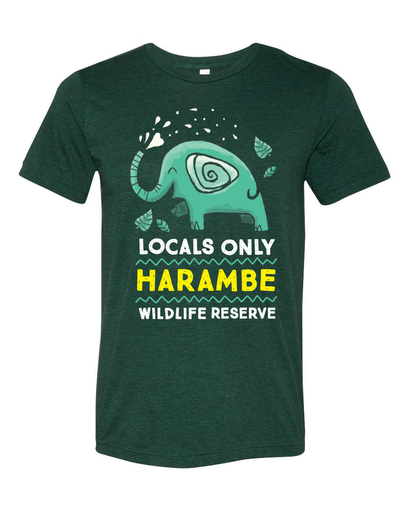 Harambe Locals Only, Crew Neck Tee, Emerald