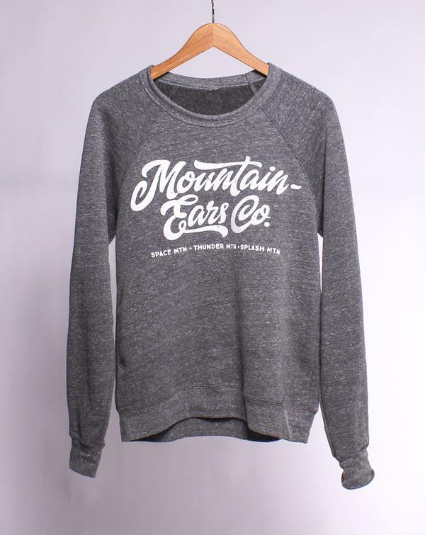 Mountain Ears Co. Script, Pullover Fleece Sweater, Heather Grey