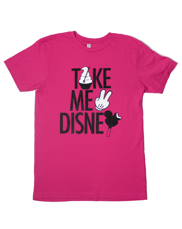 Take Me 2, Crew Neck Tee, Hot Pink