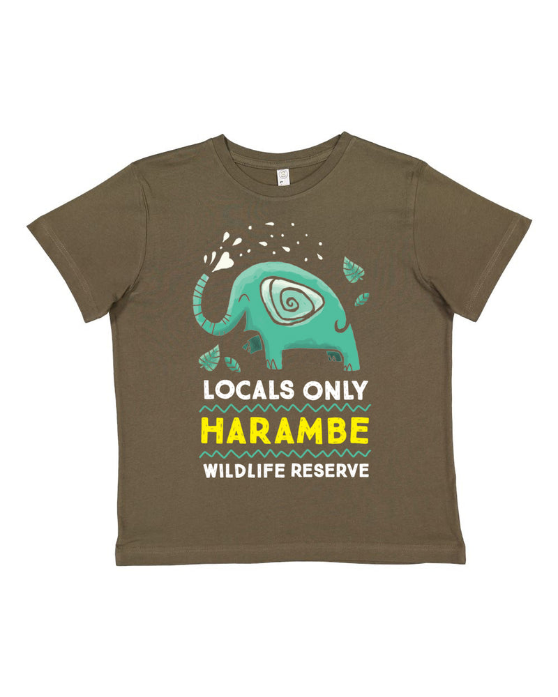 Harambe Locals Only, KIDS Crew Neck Tee, Military Green