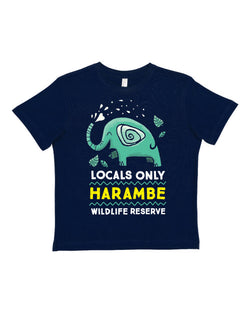 Harambe Locals Only, KIDS Crew Neck Tee, Navy