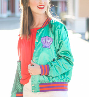 Mermaid Princess Satin Bomber Jacket by PARC