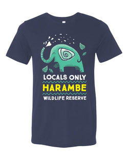 Harambe Locals Only, Crew Neck Tee, Navy
