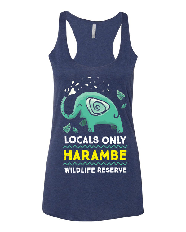 Harambe Locals Only, Triblend Racerback Tank, Navy