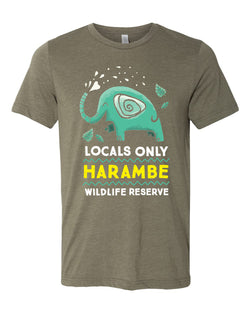 Harambe Locals Only, Crew Neck Tee, Olive