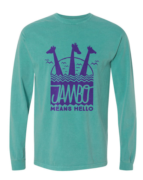 Jambo, Long Sleeve Tee, Sea Green