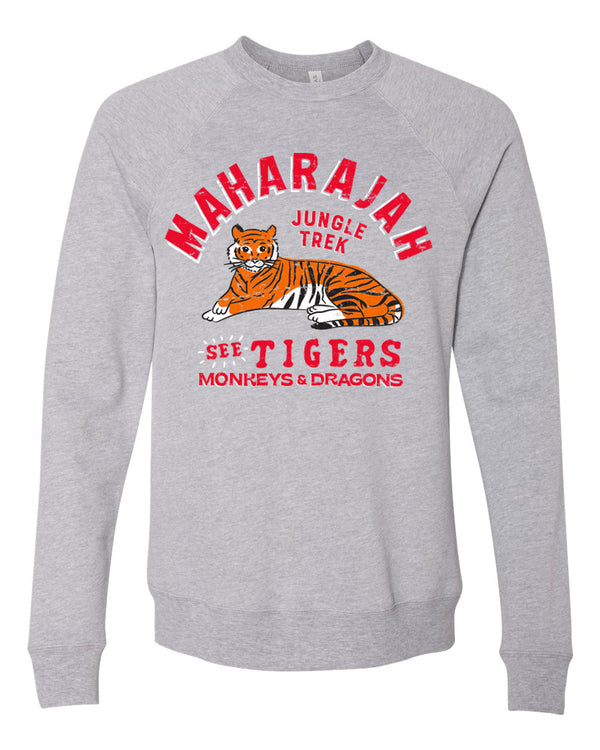Maharajah Jungle Trek, Fleece Crewneck Sweatshirt, Temple Grey