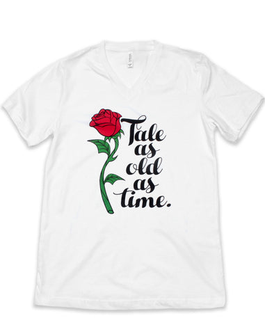 Enchanted Rose, Tale as Old as Time, Women's Relaxed V Neck Tee, White