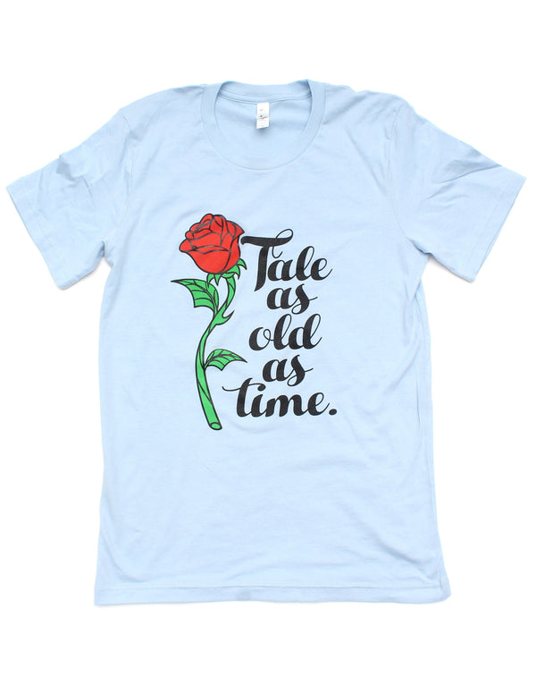 SALE, Tale as Old as Time, Crew Neck Tee, Light Blue
