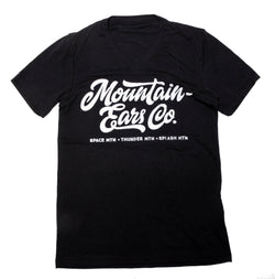 Mountain Ears Co. Script, Crew Neck Tee, Black
