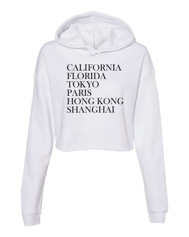 Magical Destinations, Women's Cropped Fleece Hoodie, White