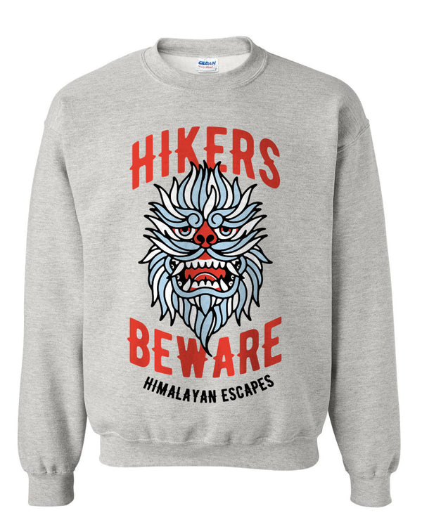 Everest Hikers Beware, Fleece Crewneck Sweater, Heather Grey