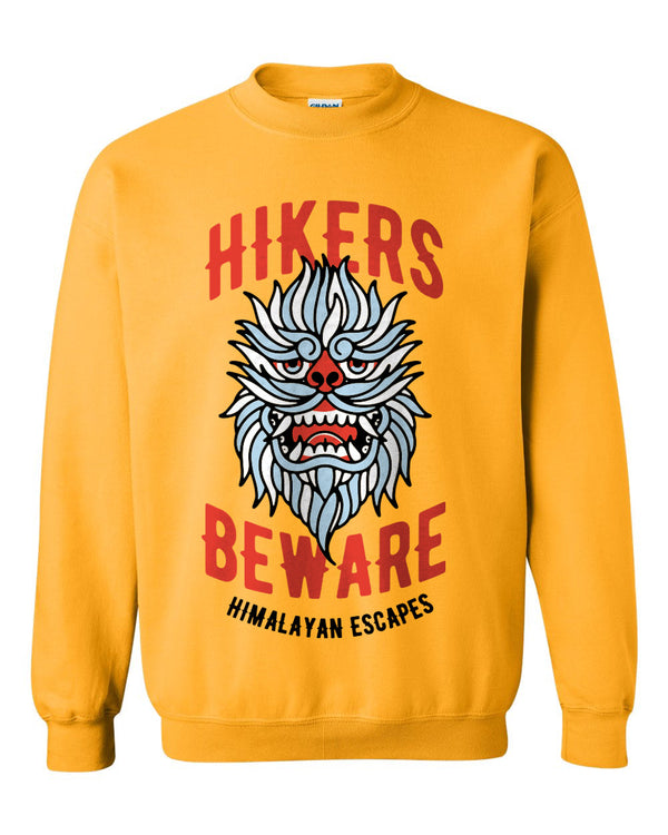 Everest Hikers Beware, Fleece Crewneck Sweatshirt, Gold