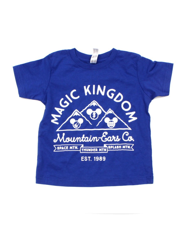 Mountain Ears Co. Logo, Kids Crew Neck Tee, Royal Blue