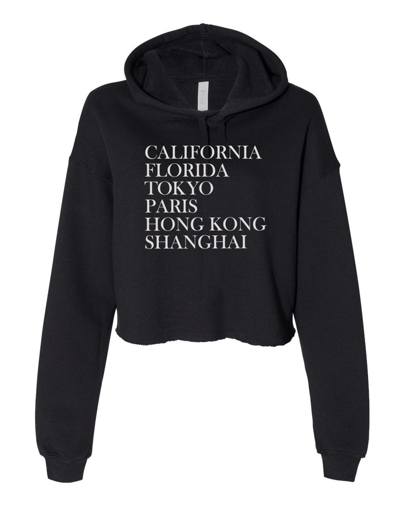 Magical Destinations, Women's Cropped Fleece Hoodie, Black