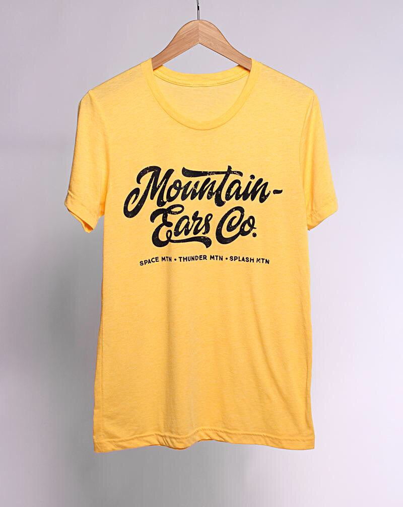 Mountain Ears Co. Script, Crew Neck Tee, Yellow Gold