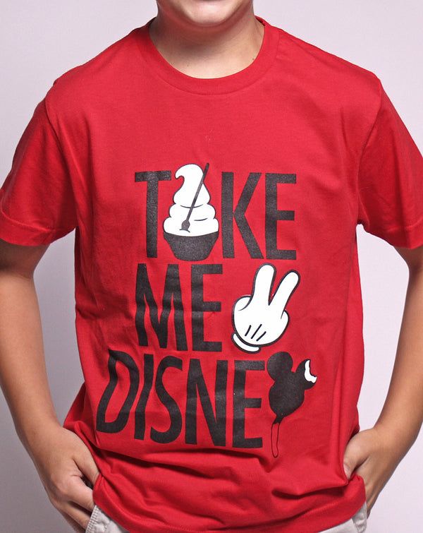 Take Me 2, Kids Crew Neck Tee, Red