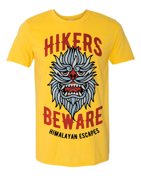 Everest Hikers Beware, Crew Neck Tee, Yellow