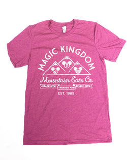 Mountain-Ears Co. Logo, Crew Neck Tee, Fuschia