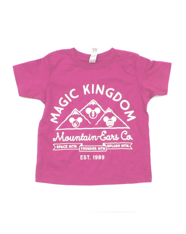Mountain Ears Co. Logo, Kids Crew Neck Tee, Raspberry