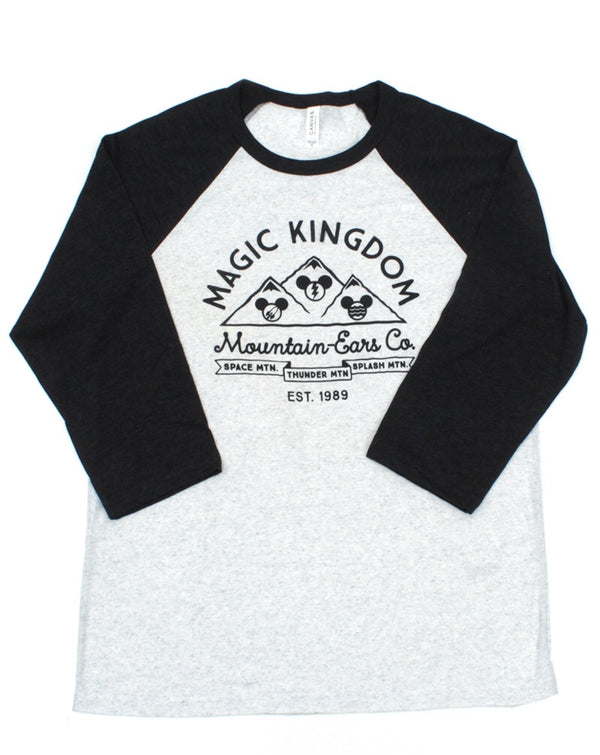Mountain Ears Co. Script, 3/4 Sleeve Raglan, White Fleck/Charcoal