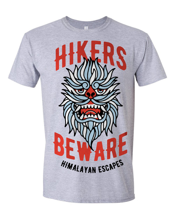 Everest Hikers Beware, Crew Neck Tee, Heather Grey