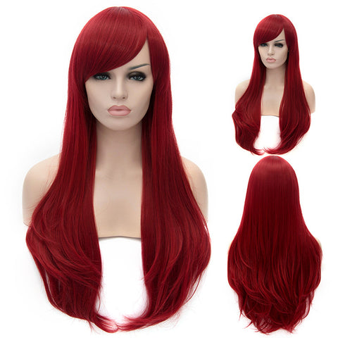 Bright red long straight wig with side fringe