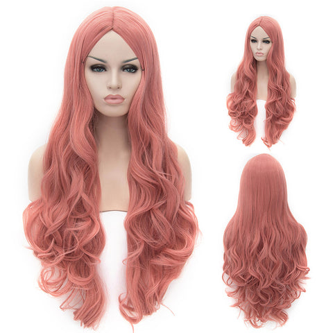 Pink long curly wig without fring