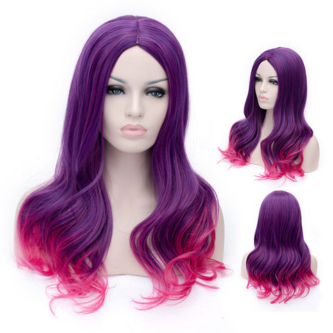 Long curly purple wig with pink highlights