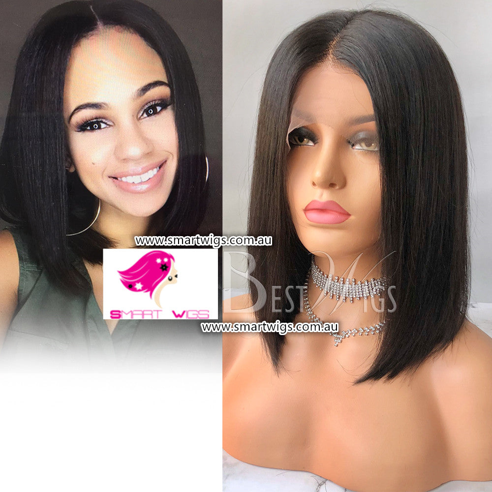 Natural Black Medium Bob Human Hair Glueless Lace Front Wig by Smart Wigs Brisbane