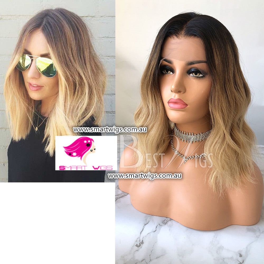 Honey Blonde with Dark Roots Brazilian Virgin Human Hair Wig by Smart Wigs Sydney NSW Australia