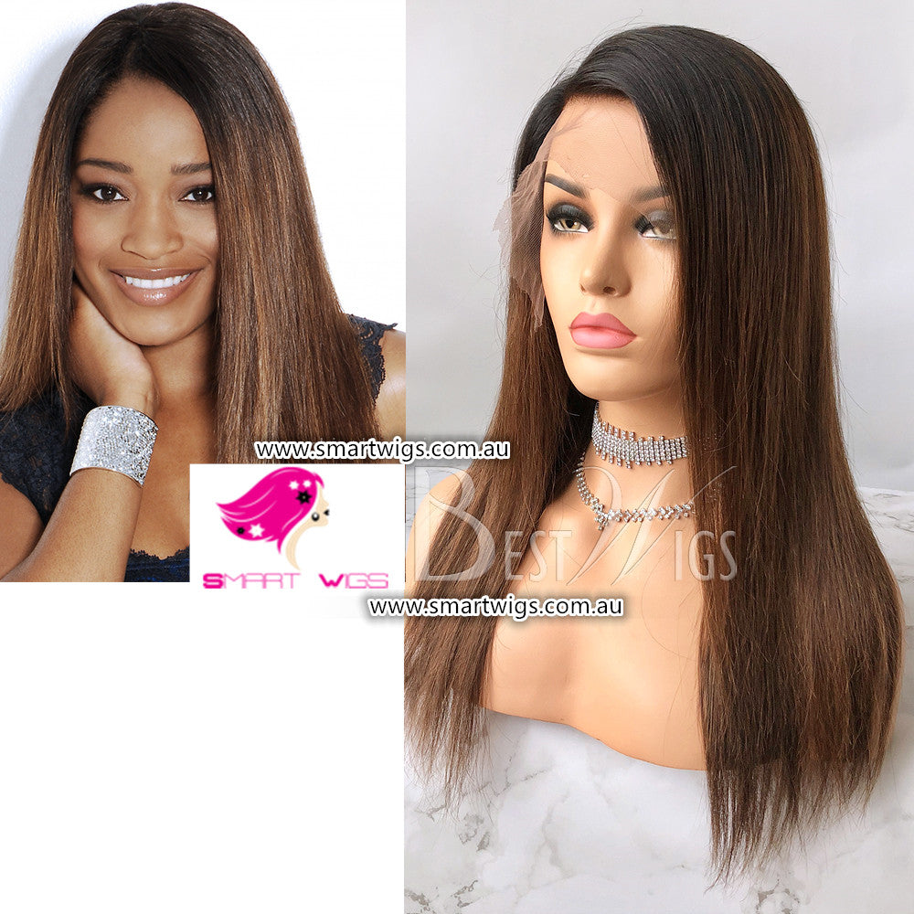 Light Brown Silk Straight Virgin Human Hair Lace Wig by Smart Wigs Adelaide
