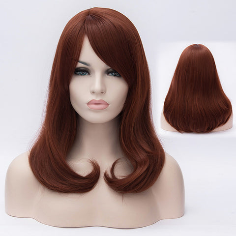 Auburn middle length wig with side long fringe