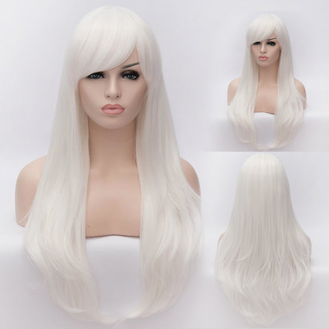 White long straight wig with side fringe by SMART WIGS