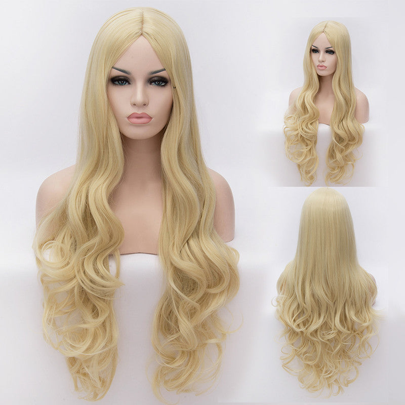 Long blonde curly wig without fringe